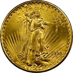 1928 $20 MS obverse