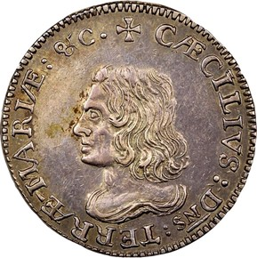 c.1659 LORD BALTIMORE MARYLAND 6P MS obverse