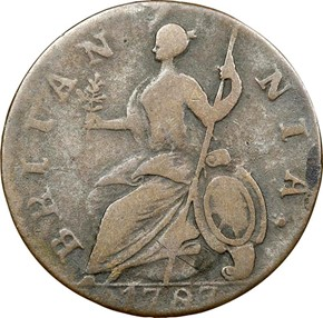 1787 'GEORGIVS' MACHIN'S MILLS 1/2P MS reverse