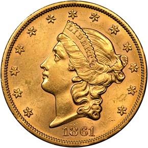 1861 S $20 MS obverse
