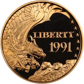 1991 W MOUNT RUSHMORE $5 PF obverse