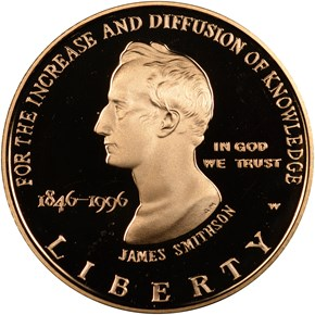 1996 W SMITHSON $5 PF obverse
