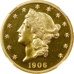 1906 $20 PF obverse