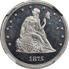 1875 J-1413 20C PF obverse
