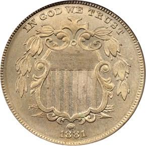 1881 5C MS obverse