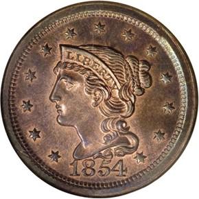 1854 1C PF obverse