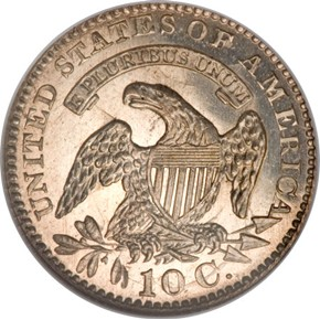 1828 SMALL DATE JR-1 10C MS reverse