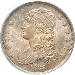 1838 CAPPED B-1 25C MS obverse
