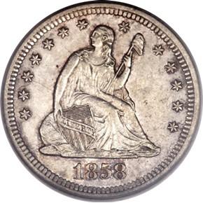 1858 S 25C MS obverse