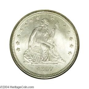 1867 S 25C MS obverse