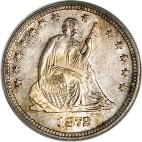 1872 S 25C MS obverse