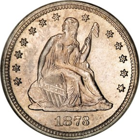 1873 CL 3 NO ARROWS 25C MS obverse