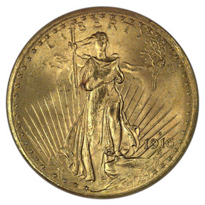 1916 S $20 MS obverse