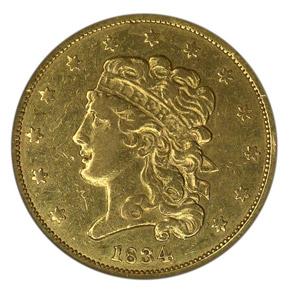 1834 CROSS 4 CLASSIC $5 MS obverse