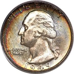 1949 D 25C MS obverse
