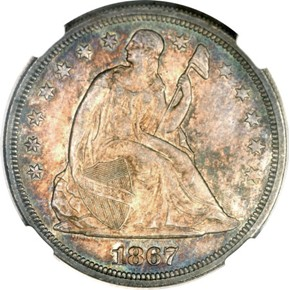 1867 S$1 MS obverse