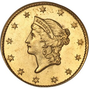 1849 OPEN WREATH G$1 MS obverse