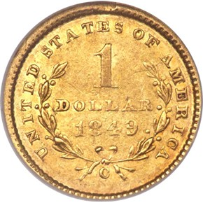 1849 C OPEN WREATH G$1 MS reverse