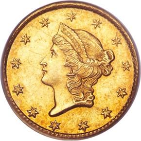 1850 C G$1 MS obverse