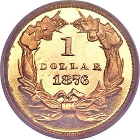 1876 G$1 PF reverse
