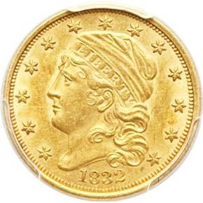 1832 $2.5 MS obverse