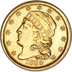 1834 CAPPED $2.5 MS obverse