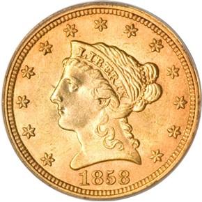 1858 $2.5 MS obverse