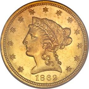 1862 $2.5 MS obverse