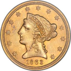 1863 S $2.5 MS obverse