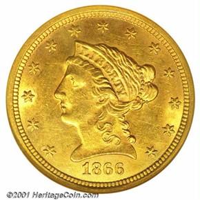 1866 S $2.5 MS obverse