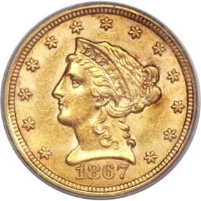 1867 S $2.5 MS obverse