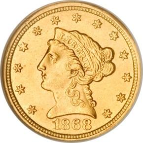 1868 S $2.5 MS obverse
