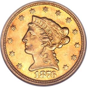 1876 $2.5 MS obverse