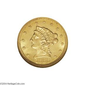 1886 $2.5 MS obverse