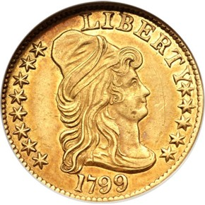 1799 LARGE STARS REV $5 MS obverse