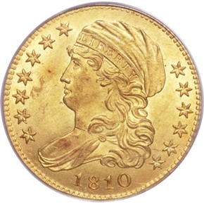 1810 SM DATE TALL 5 $5 MS obverse