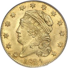 1824 $5 MS obverse
