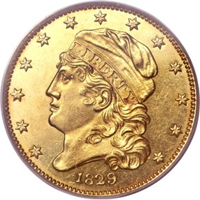 1829 SMALL DATE $5 MS obverse