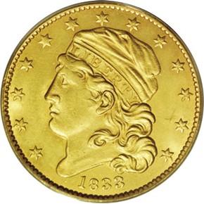 1833 $5 MS obverse