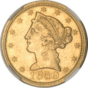 1850 C WEAK C $5 MS obverse