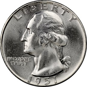 1951 25C PF obverse