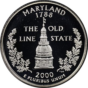 2000 S SILVER MARYLAND 25C PF obverse