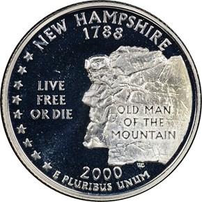 2000 S SILVER NEW HAMPSHIRE 25C PF obverse