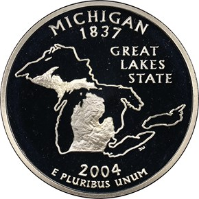 2004 S SILVER MICHIGAN 25C PF obverse