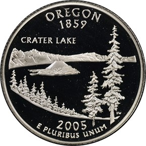 2005 S SILVER OREGON 25C PF obverse