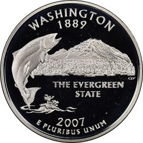 2007 S SILVER WASHINGTON 25C PF obverse