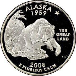 2008 S SILVER ALASKA 25C PF obverse
