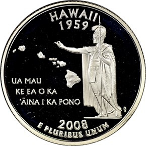 2008 S SILVER HAWAII 25C PF obverse
