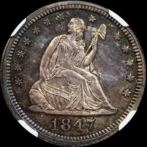 1847 25C PF obverse