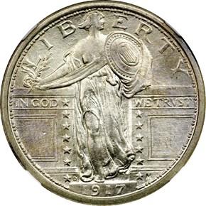 1917 D TYPE 1 25C MS obverse